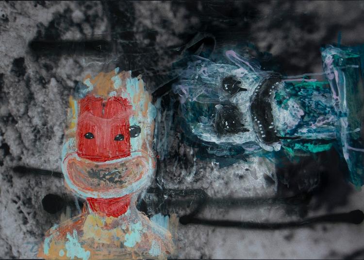 theta spray pain, oil pastels,  - stone__glass | ello