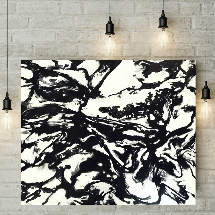 Black white acrylic canvas. fun - meltedtheory | ello