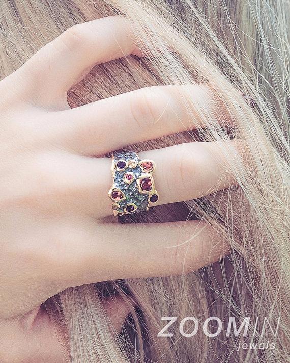 Garnet Sapphire Ring, Gold Silv - zoominjewels   ello