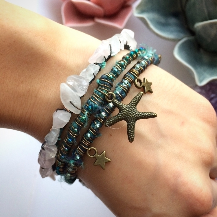 Cute starfish bangles rose quar - amilliadesigns | ello