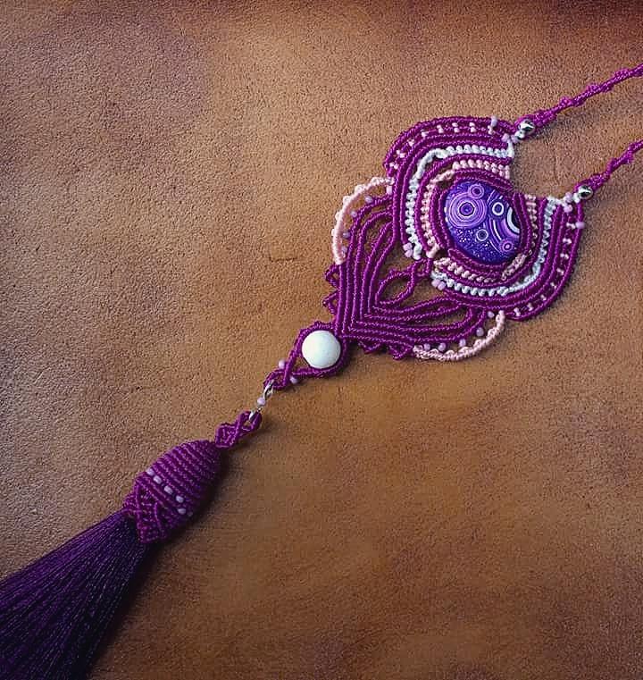 Purple, long micro macrame neck - macrame_birbyzossleptuve | ello