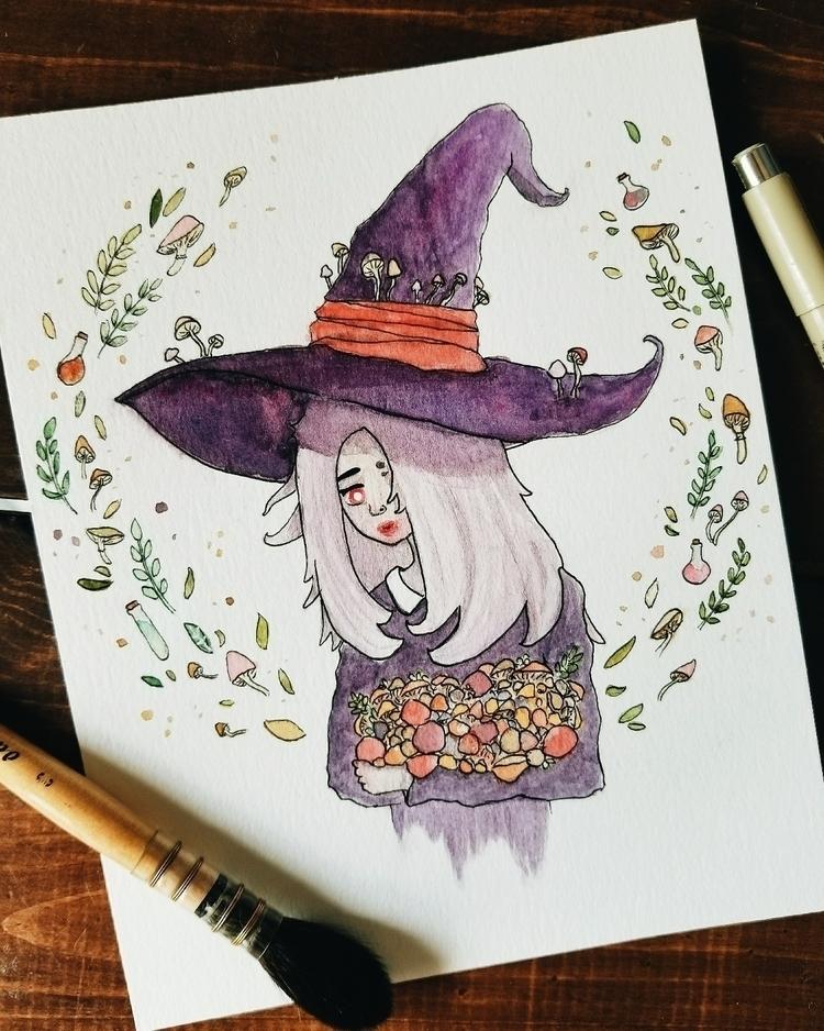 Mushroom witch - watercolor, illustration - sktchup | ello