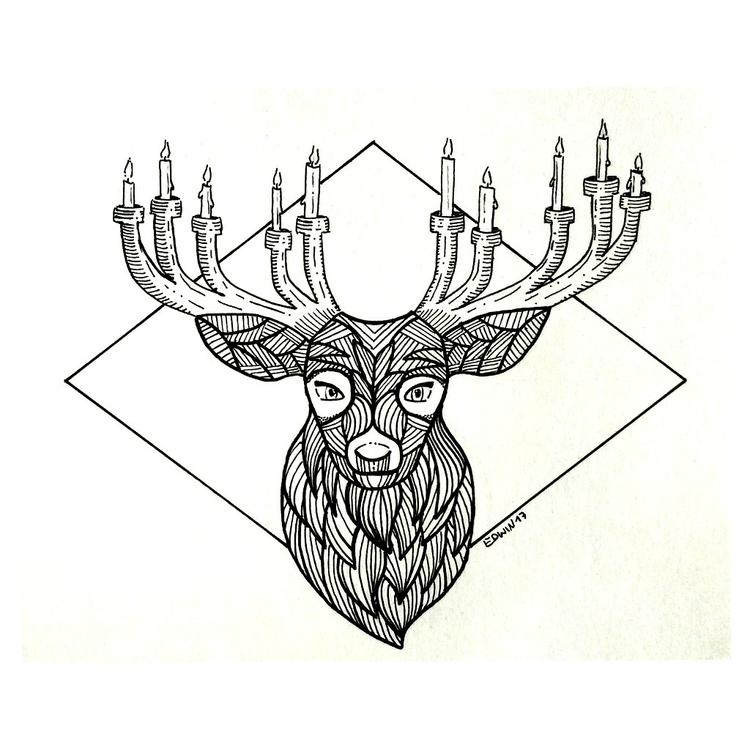 Inktober - graceful deer | 17.1 - edwln | ello