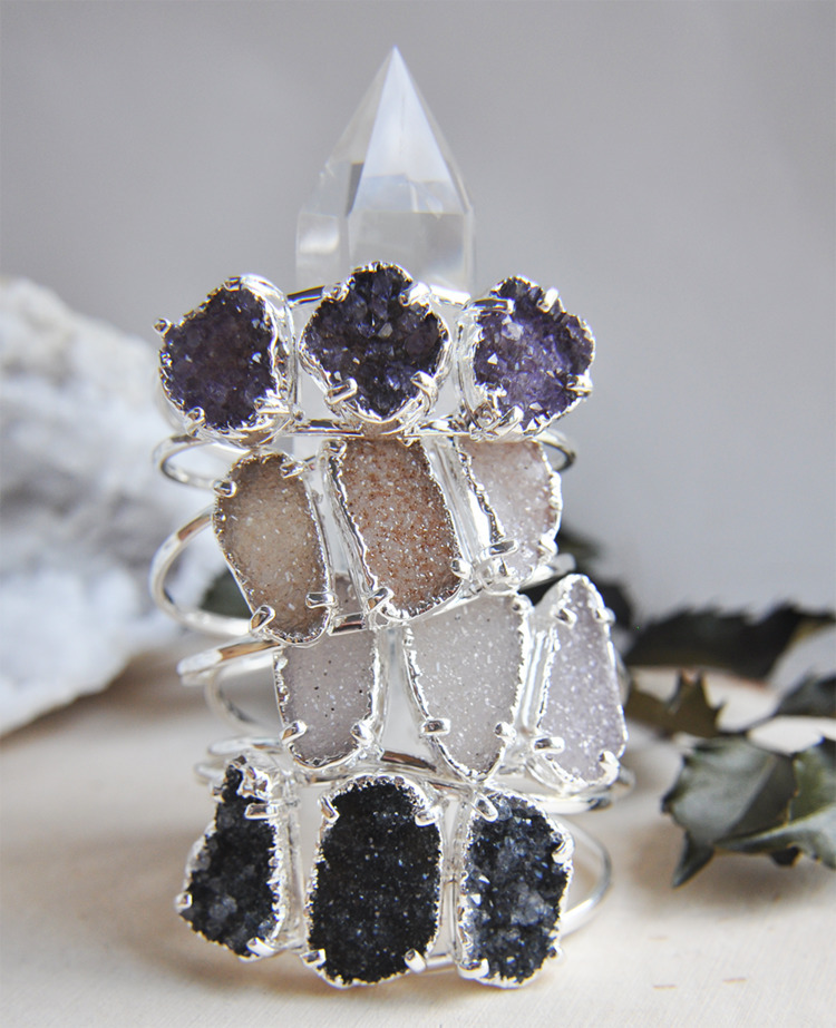 druzy, jewelry, crystals, cuff - fawinginlove | ello