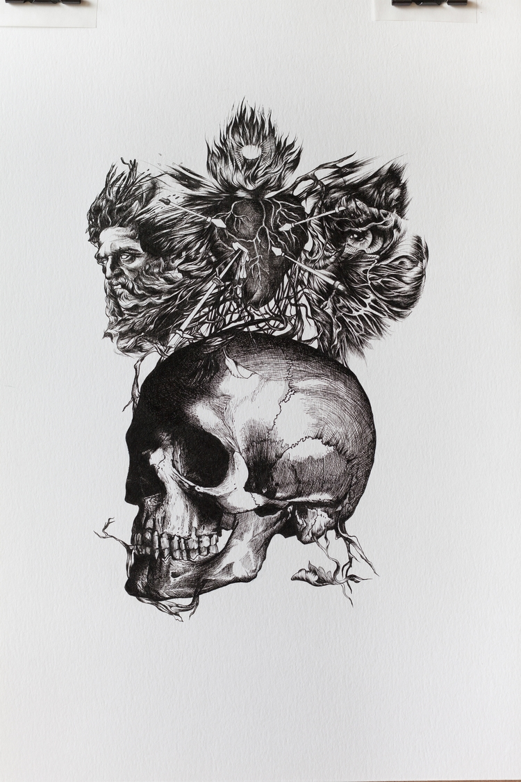 finished work-Sacred Heart, ink - wito | ello