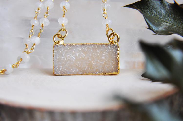 petite, druzy, moonstone, crystals - fawinginlove | ello