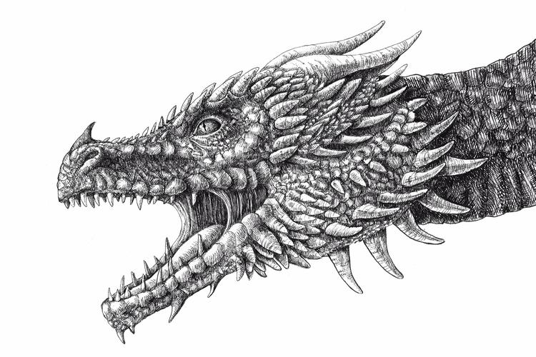 Dragon, inktober2017, furious - isabelcamarasa | ello