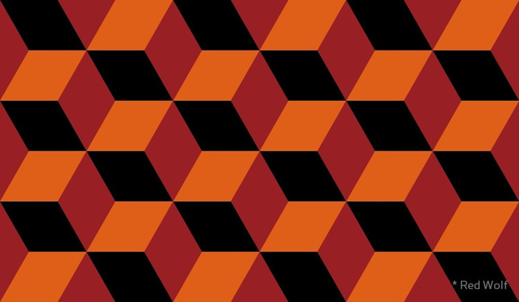 Geometric Pattern: 3D Cube: Red - red_wolf   ello