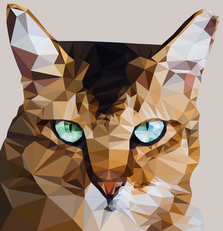 Cat Portrait - cat, lowpolyart, digitalart - emirhamzah | ello