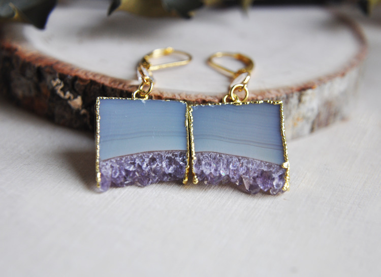amethyst, stone, quartz, earrings - fawinginlove | ello