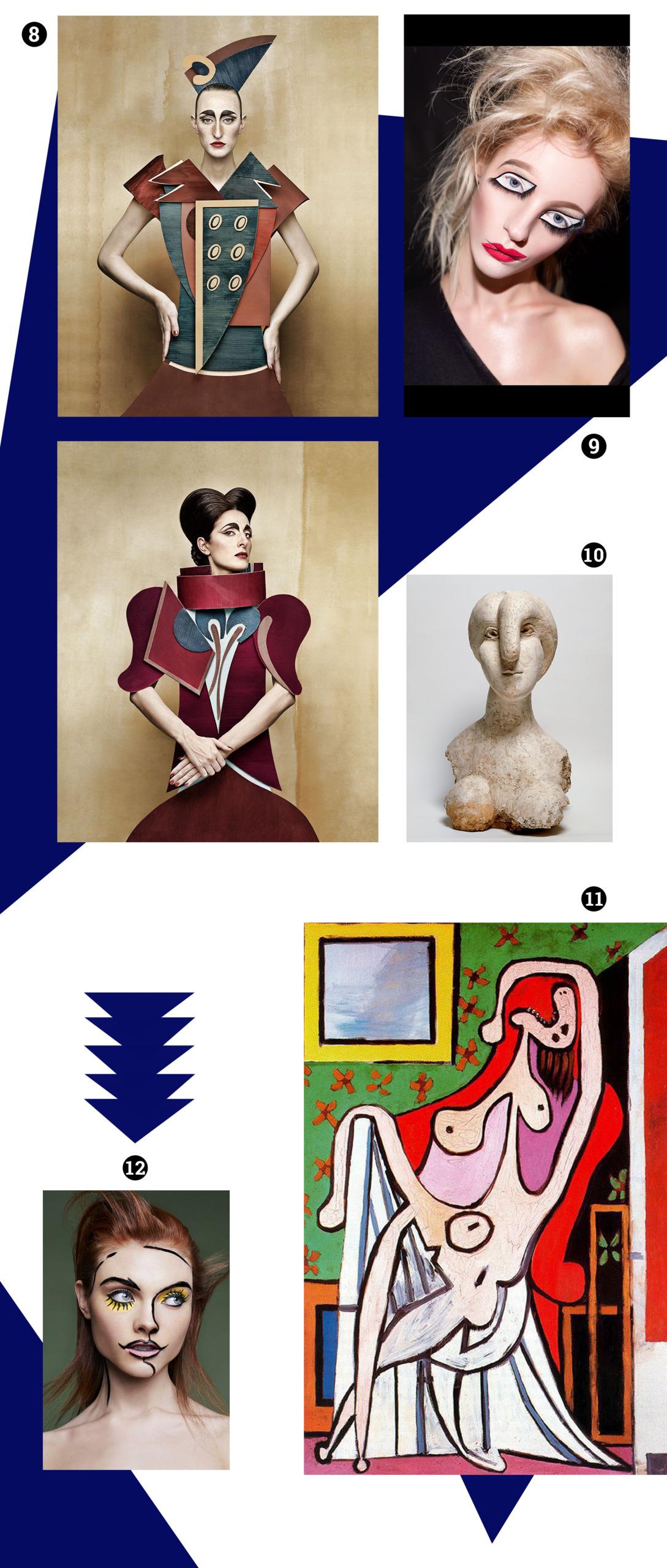 Obraz przedstawia różne zdjęcia na białym tle w otoczeniu geometrycznych granatowych elementów. Widzimy fotografie modelek ubranych w geometryczne stroje, twarze w artystycznym makijażu i rzeźbę.
