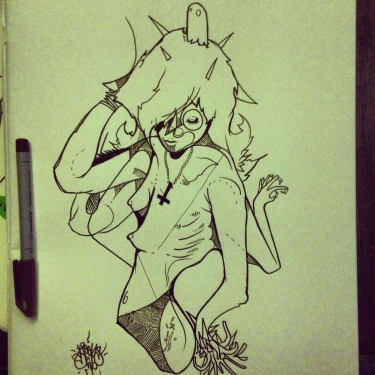 Reeps art strange sleep. Ink pe - reepsone   ello