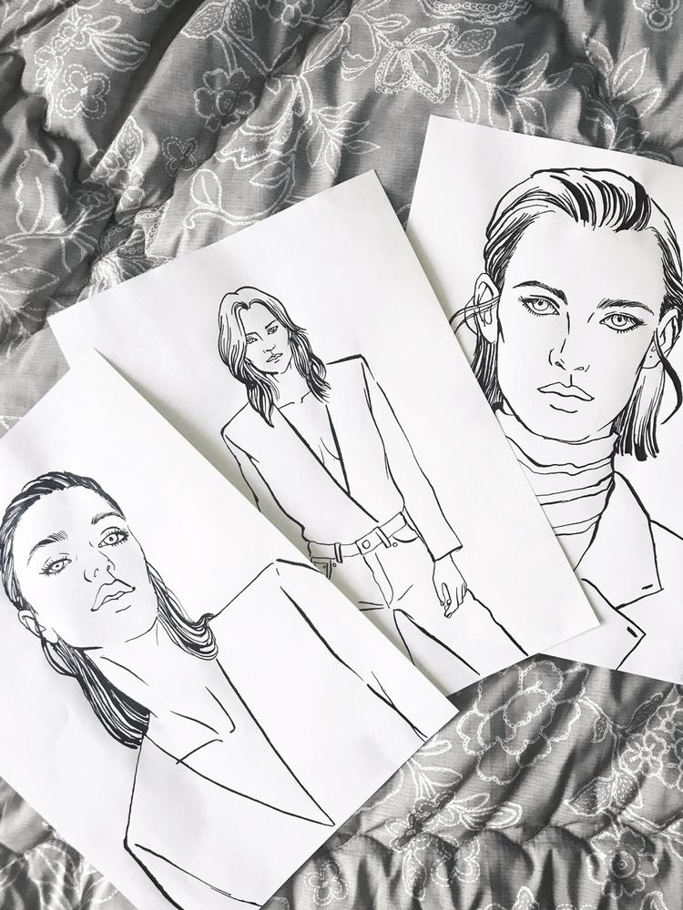 3 girls poses - drawing, fashionillustration - eunjeongyoo | ello