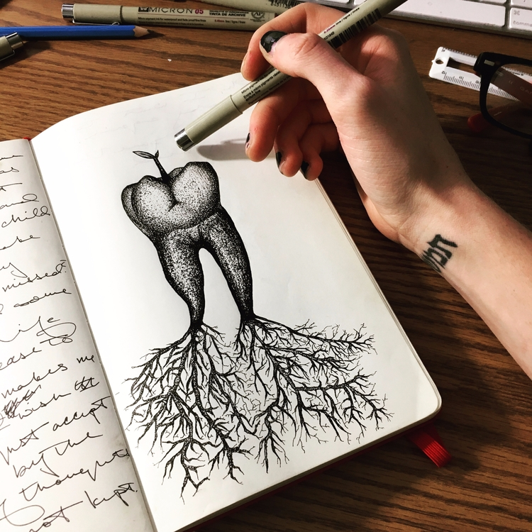 pen, ink, micron, micronpen, stippling - betsykevans | ello