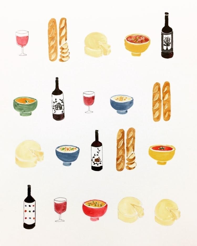 Friday, wet cold, soup, bread,  - igimidraws | ello