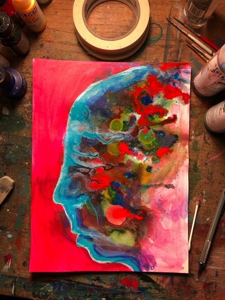 Playing drippy - head, colors, painting - nathanawoodart | ello