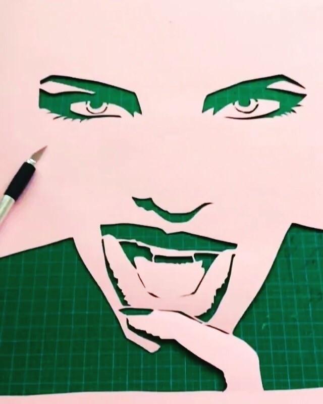 Artwork progress - stencil, paperart - liz_art_berlin   ello