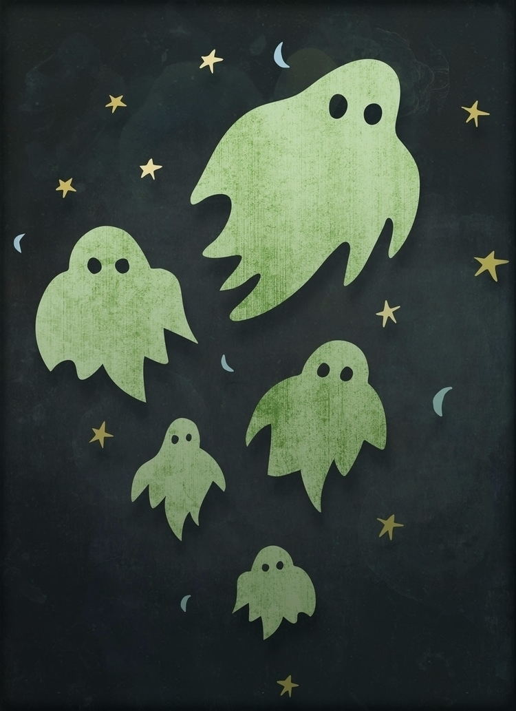 Green Ghosts. Halloween - Illustration - johnjgriffiths | ello