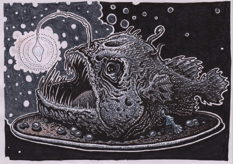 Anglerfish, Illustration, PenInk - zhenyayanovich | ello