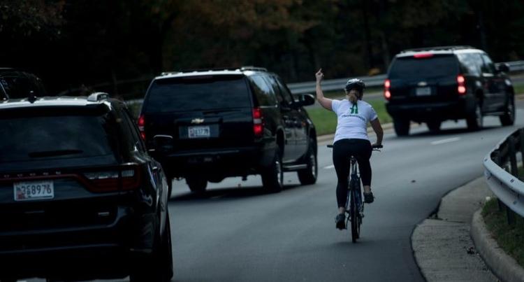 cyclist gave Trump finger motor - djspin   ello