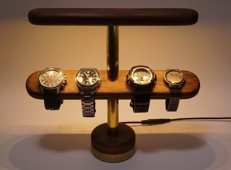 Walnut brass watch stand accent - darkc_studio | ello