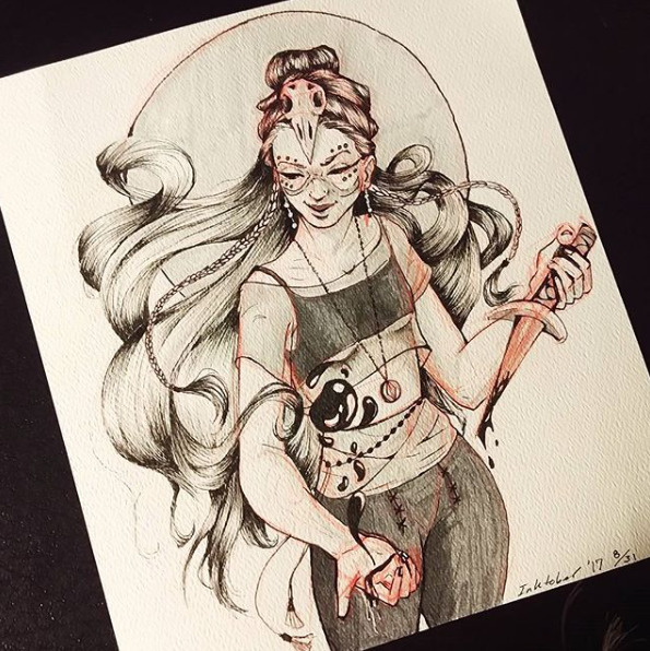 blood witch Inktober! Check Ins - littleobi | ello