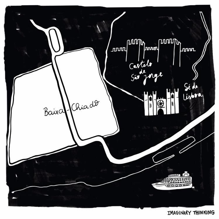 illustrated map downtown Lisbon - imaginarythinking   ello