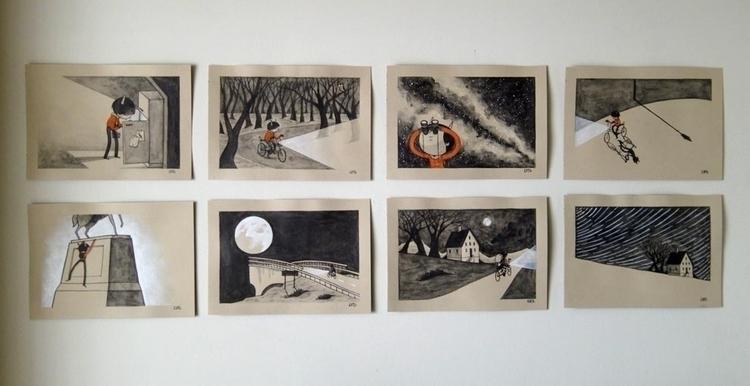 Nod Sleep   A5 painting set 8 - watercolour - catsac   ello