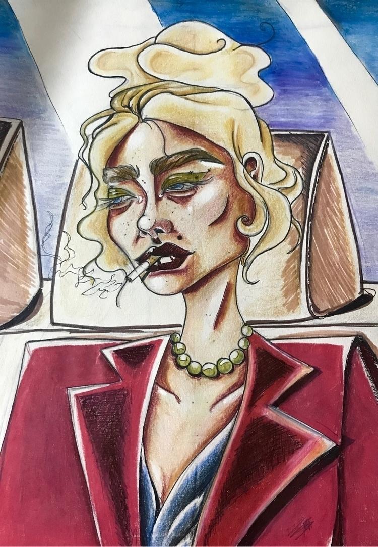 September\17 - girl, red, drawing - nellie380 | ello