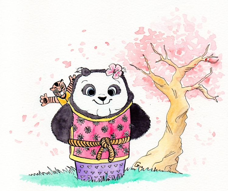 Aquarelle feutre - kungfupanda, panda - romgondy | ello