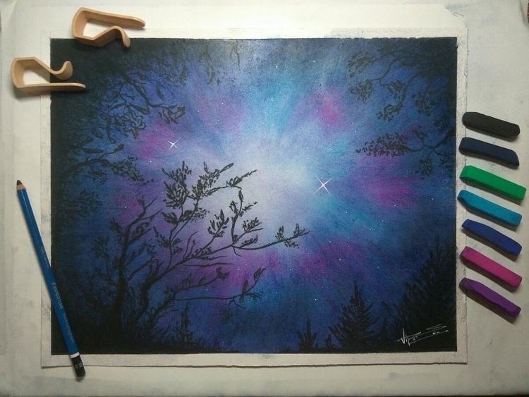 Dark woods soft pastel. paintin - leisure_arts_vipul | ello