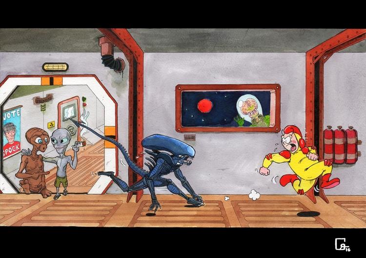 Aliens, encres aquarelles, A3 - alien - romgondy | ello