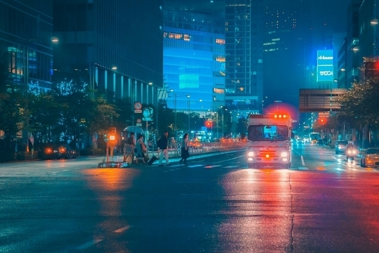 fire department, rainy night - tokyo - fokality | ello