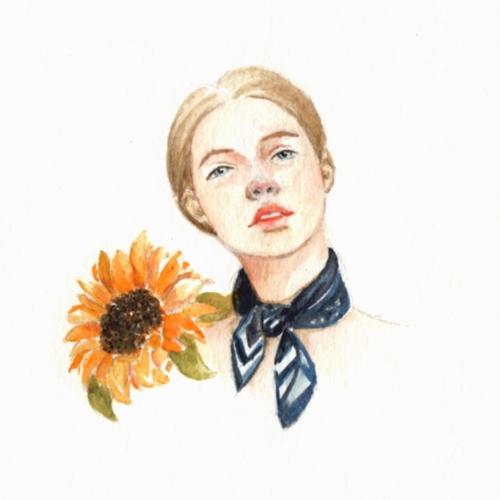 painting, study, sunflower, summer - j0eyg1rl   ello