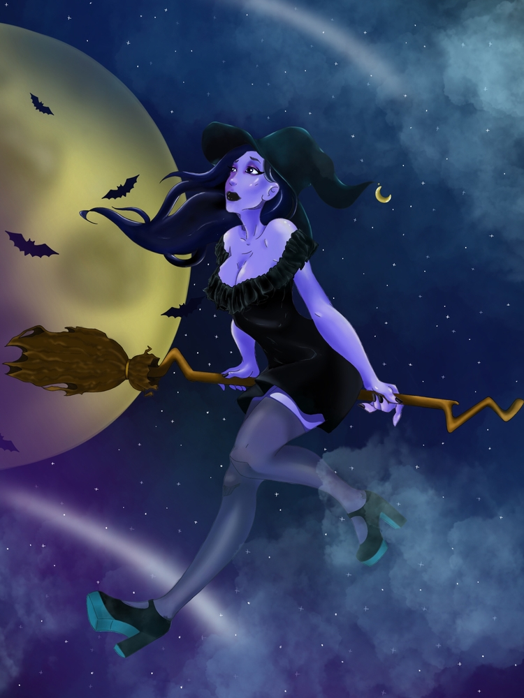 Witch night draw Procreate - valekalach | ello