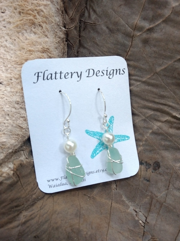 Hawaiian Blue Sea Glass Earring - flatterydesigns | ello