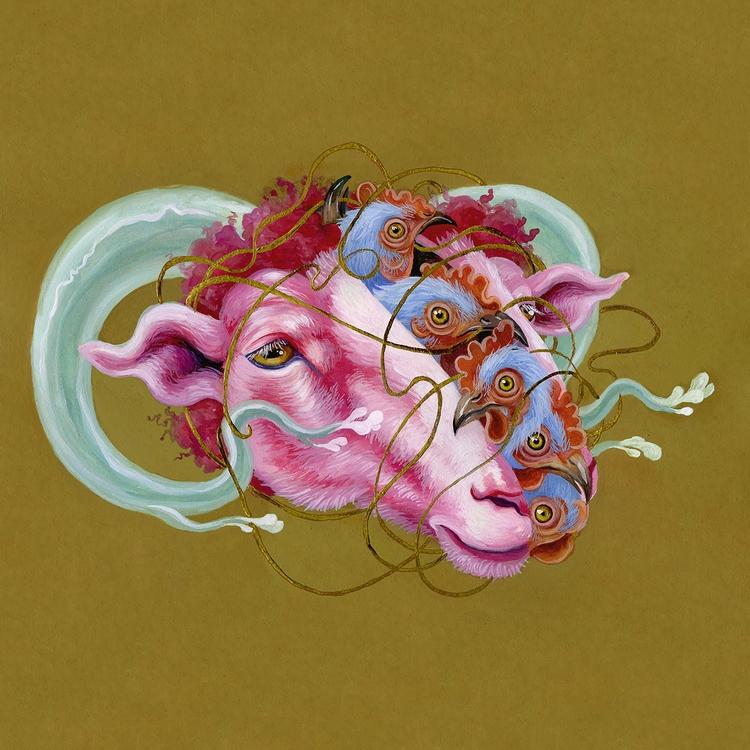 Knot gouache paper - art, sheep - kitmizeresart | ello
