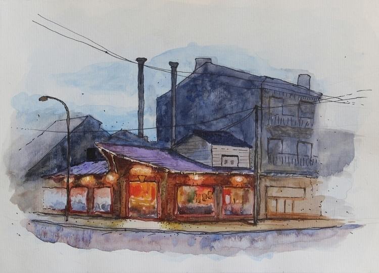 Casita china Ink + Watercolor p - agustinp | ello