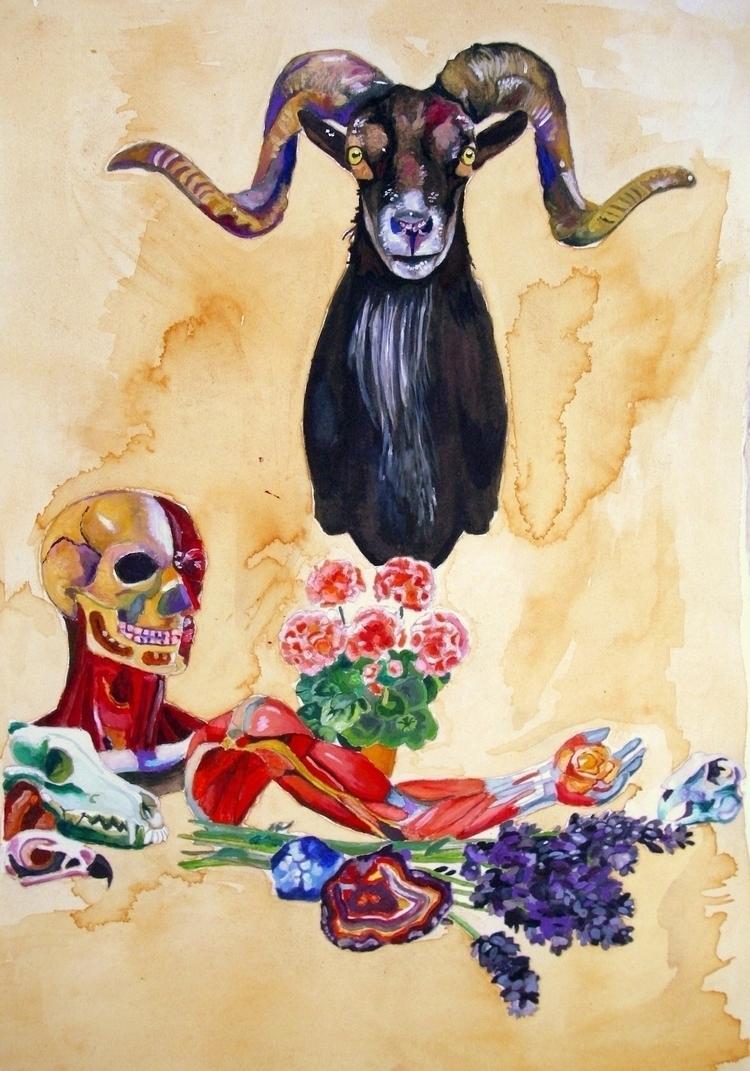 Gouache, watercolour, oils tea  - clovecigarettes | ello