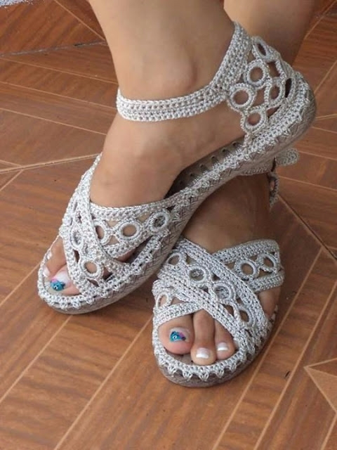 model crochet sandal beautiful  - brunacrochet | ello
