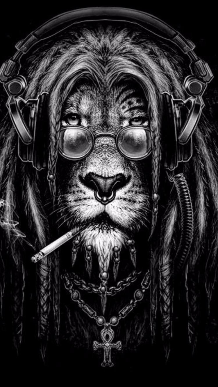 Lion - lion, picture, music, smoke - ky4eryavii_pon4o | ello