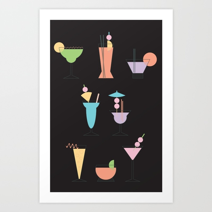 Drinks Night art print Society6 - funkyfondledandfresh | ello