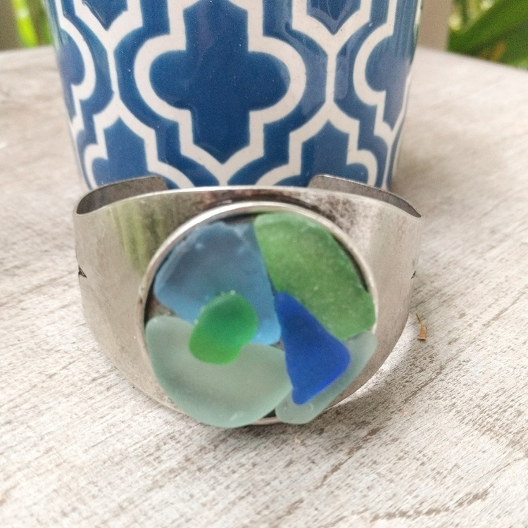 Hawaiian Sea Glass Cuff Bracele - flatterydesigns | ello