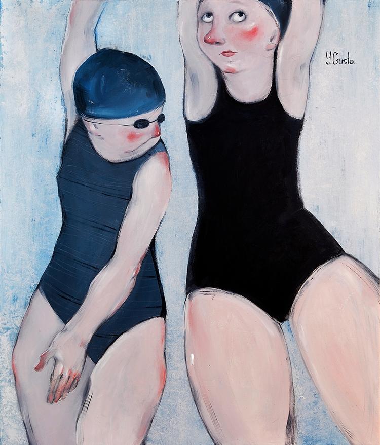 Swimmers Mixed media canvas. 60 - yanagusto | ello