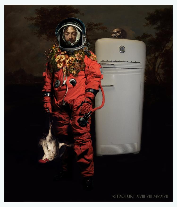 collage Castaway - astronaut#chicken#castaway#Caravaggio#chiaroscuro#postcard#montage#digital - astroturf | ello