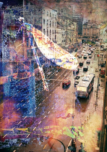 Submitted - dragonflies, city, digital_collage - sunyoungersister | ello
