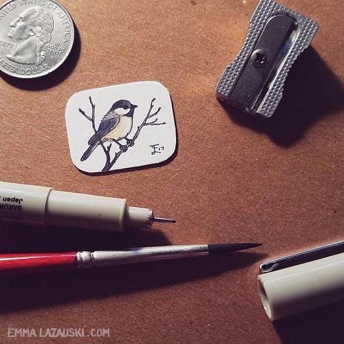 mini chickadee painting, size q - levitea   ello