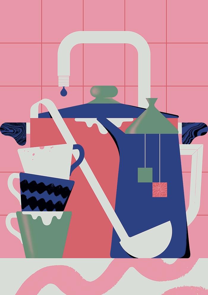 Dirty dishes - illustration, design - alconic | ello