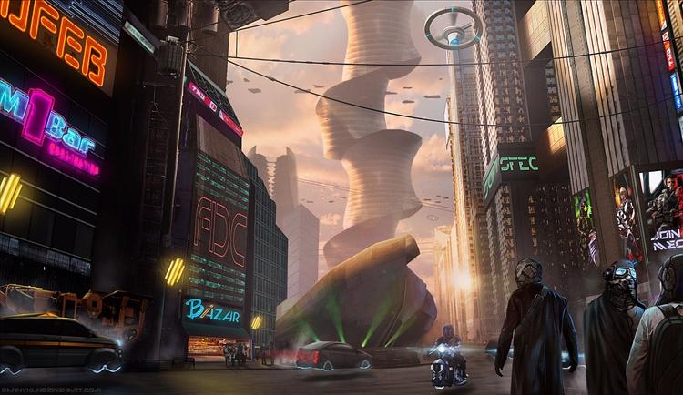 cyberpunk, scifi, city, slums - dannykundzinsh | ello