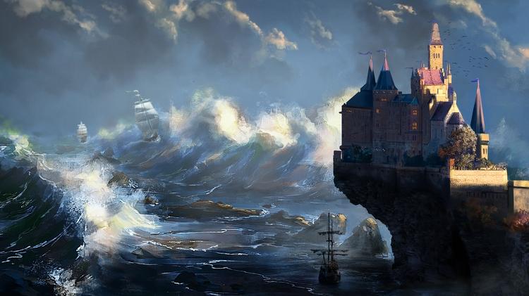 Ocean, ships, castle, epic, sunset - dannykundzinsh | ello